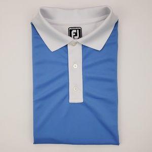 FootJoy Large Polo Shirt Blue White Athletic Fit G